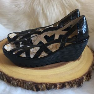 Fly London leather wedge sandals LIKE NEW